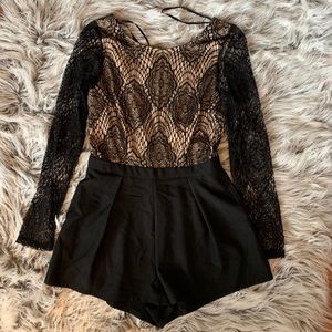 Black and gold lace romper NWT